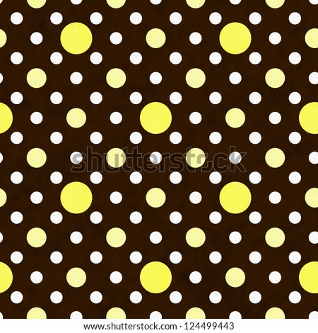 Yellow, White and Brown Polka Dot Fabric with texture Background that is seamless and repeats
