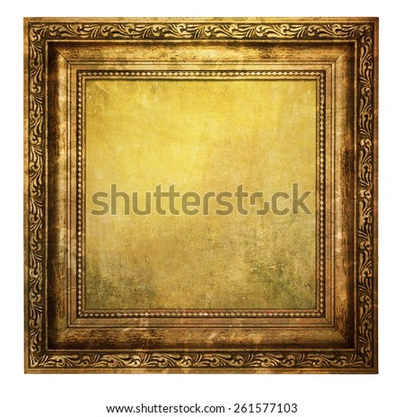 Yellowed wooden frame isolated on white background