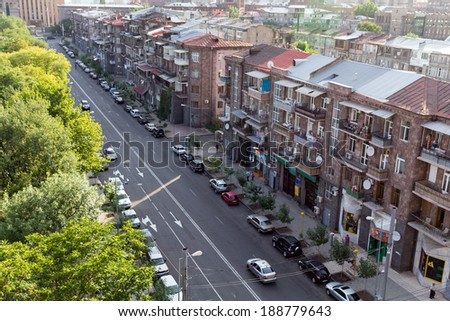 YEREVAN, ARMENIA - JULY 04, 2013: One of the central streets of Yerevan. The city Yerevan has a population of 1 million people