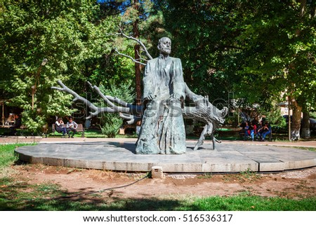 Yerevan, Armenia - September 26, 2016: The statue of Komitas near the Yerevan Komitas State Conservatory, Kentron District