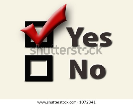Yes and No Checkboxes with Red Checkmark in the Yes Box -- Cream Background