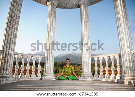 Yoga Meditation In Padmasana Lotus Pose By Woman In Red