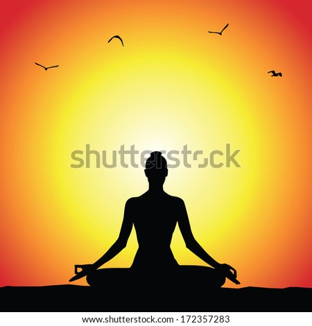 Meditation silhouette Stock Photos  Illustrations  and Vector ArtYoga Meditation Pose Silhouette