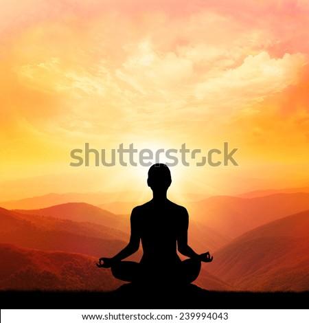 yoga meditation lotus poseman stock photo 89644042