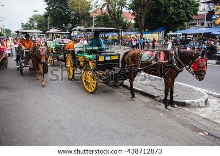 Yogyakarta, Indonesia - 1 May 2016: Visiting the colorful & busy Malioboro street of Yogyakarta