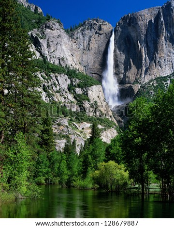 Yosemite Falls and Merced River, Yosemite National Park, California