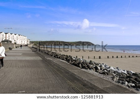 Youghal beach promenade on a quiet summers afternnon in Ireland