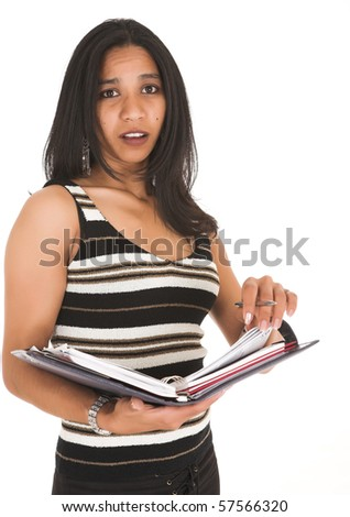 Young adult African-Indian businesswoman in casual office outfit with a daybook, wearing striped top on a white background. Not Isolated