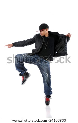 Young African American man dancing hip hop style
