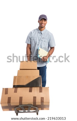 Young African American Man Delivery Boxes on isolated white background