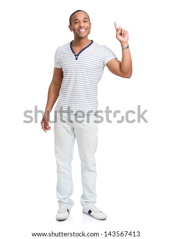 Young African Man Over White Background Pointing Upwards