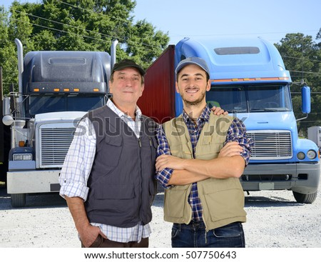 Young and mature truck drivers
