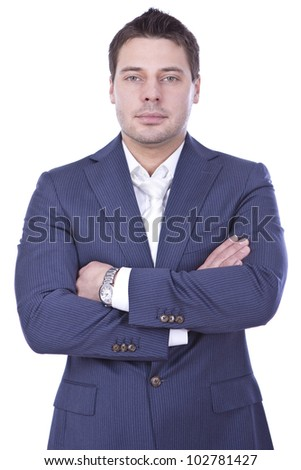 Young and successful businessman over white background