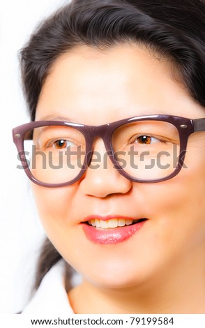 Young Asia woman with retro eyeglasses