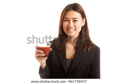 Young Asian business woman drink tomato juice  isolated on white background.
