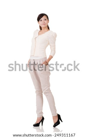 Young Asian business woman, full length portrait with reflection on studio white background.