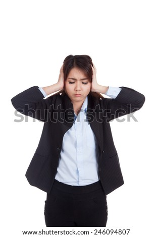 Young Asian businesswoman got headache isolated on white background