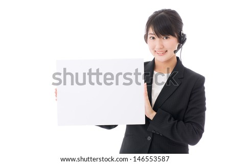 young asian businesswoman with headset on white background