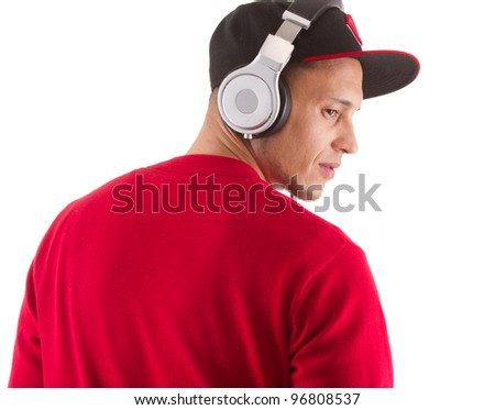 Young asian man with headphones an stylish clothes - a dj.