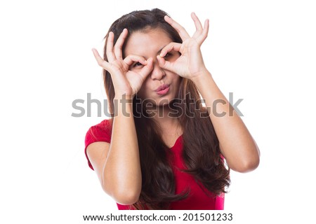 Young asian woman hand over eyes on white background