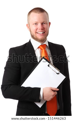 Young attractive businessman wearing a suit and orange tie, holding a clipboard. White background.