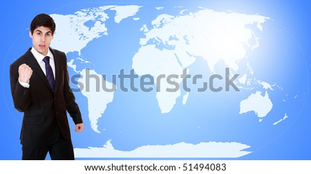 Young attractive businessman with world map in background - globalization