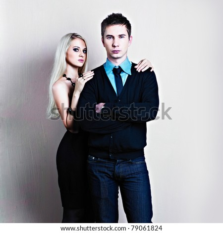 Young attractive couple. Handsome man and sexy woman