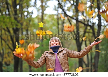 Young attractive girl in autumn