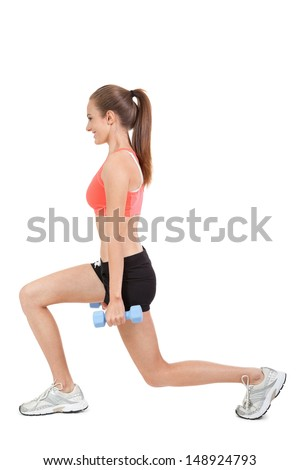 young attractive woman stretching legs after jogging isolated on white