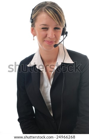 young beautiful business woman with headset phone help customer solution info service