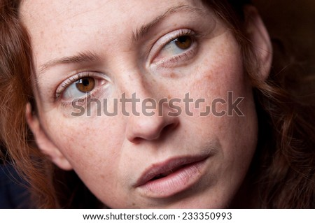 face beautiful brunette woman freckles on stock photo