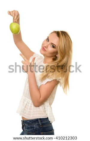 young beautiful girl with Apple in hands isolated on white background