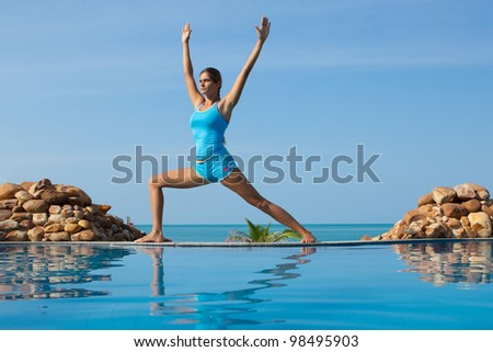 beautiful happy woman yoga poses stock photo 98194526