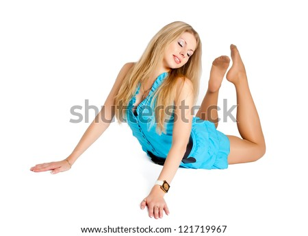 Young beautiful woman practicing yoga in flexibility pose