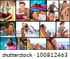 Young beautiful woman sea side collage at the beach - stock photo