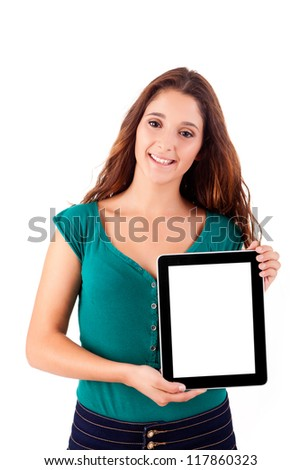 Young beautiful woman with tablet PC on white background
