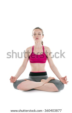 young beautiful woman yoga posing on a white  background