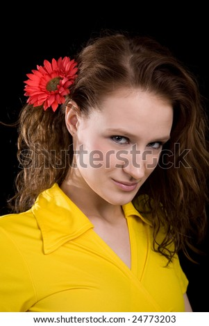 young beauty woman in the yellow blouse