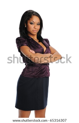 Young Black Businesswoman with arms crossed isolated on a white background