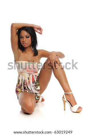 Young Black Woman Fashion Model isolated on a white background