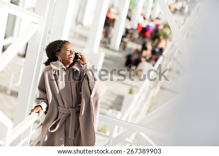 Young black woman on the street