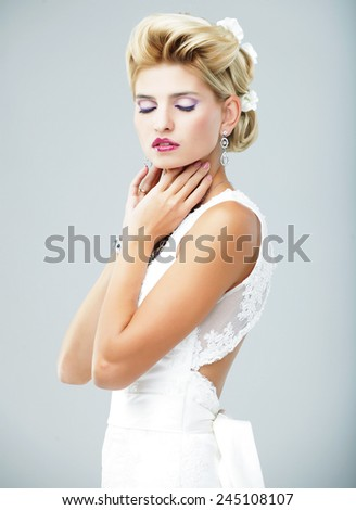 young blond bride, happy woman