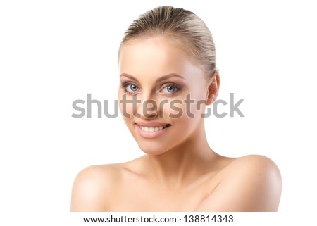 young blond smiling  woman with blue eyes on white background