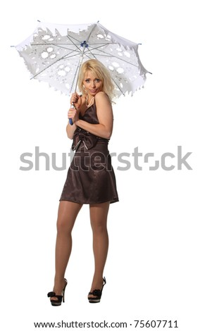 Young blond woman hold a leaky umbrella