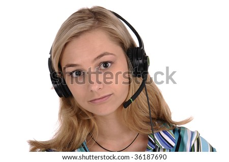 Young blonde woman with earphones and microphone isolated on white