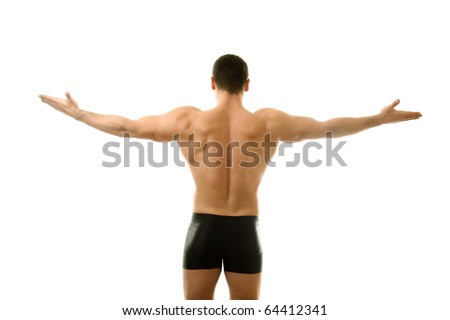 Young bodybuilder showing his biceps isolated over white