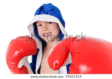 Young Boy Boxer with Robe and Boxing Gloves