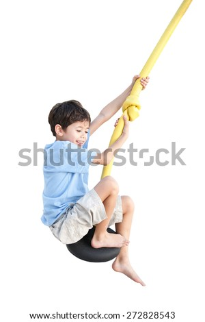 Young boy enjoying on balancing activity  isolated on white background.