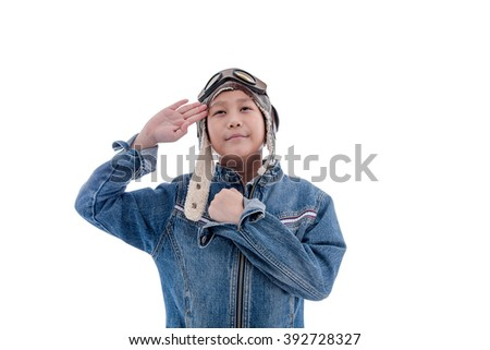 Young boy pilot isolated in white with clipping path