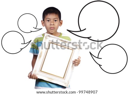 young boy with photo frame and speech in studio on white background